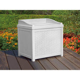 Suncast 22 Gallon Wicker Storage Seat White