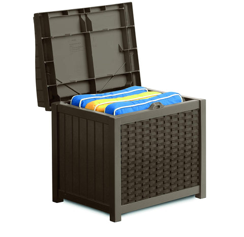 Suncast 22 Gallon Wicker Storage Seat