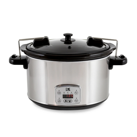 Kalorik Stainless Steel 8 Qt Digital Slow Cooker with Locking Lid