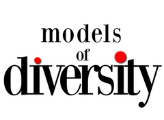 text saying 'models of diversity in black, the dots over the I letters are bright red.