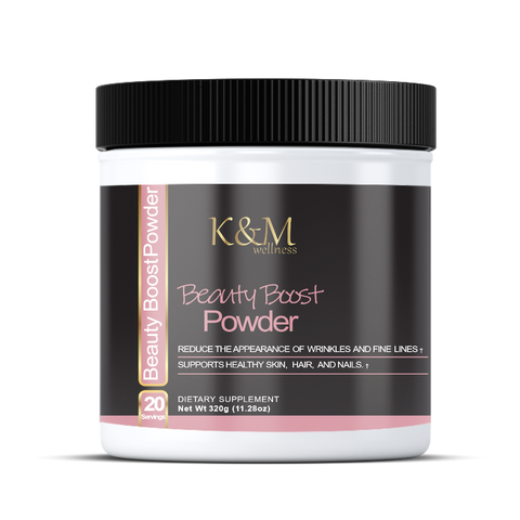 Beauty Boost Powder, Reduces the appearance of wrinkles and fine lines. Supports healthy skin, hair and nails. - K&M Wellness General Health