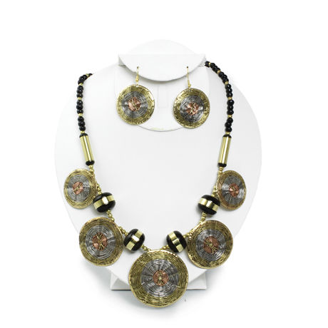 Woven Brass Necklace and Earring Jewelry Set