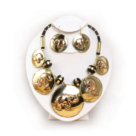 Brass and Copper Elephant Jewelry Set