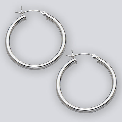 Thick Hoop Sterling Silver Earrings