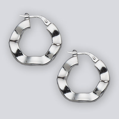 Fancy Hinged Hoop Sterling Silver Earrings