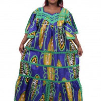 African v-neck one size fits all dress