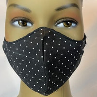 Black with White Polka Dots  Coronavirus Protection Face Mask