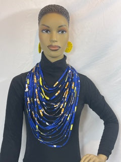 Blue  African Pattern  Fabric Necklace