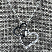 Chain - Sterling Silver Necklace with black crystal 16 inch Chain