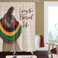 """Blessed Life"" African American Life Shower Curtain"