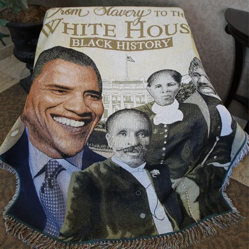 From Slavery To The White House Tapestry Throw
