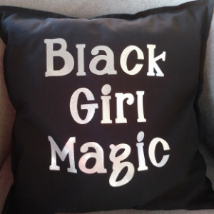 Black Girl Magic Throw Pillow (Black and Silver)