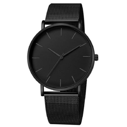 Minimalist Men Fashion Stainless Steel Mesh Belt Quartz Watch Relogio Masculino