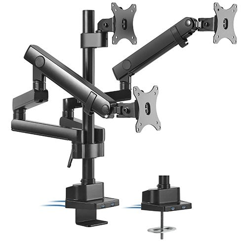 Brateck Triple Monitor Aluminum Slim Pole Held Mechanical Spring Monitor Arm Fit Most 17