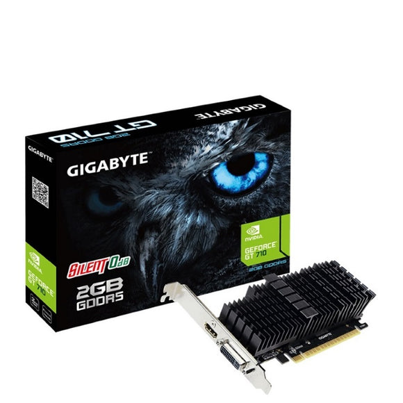 Gigabyte nVidia Geforce GT 710 2GB DDR5 PCIe Graphic Card 4K 2xDisplays HDMI DVI Low Profile Heatsink