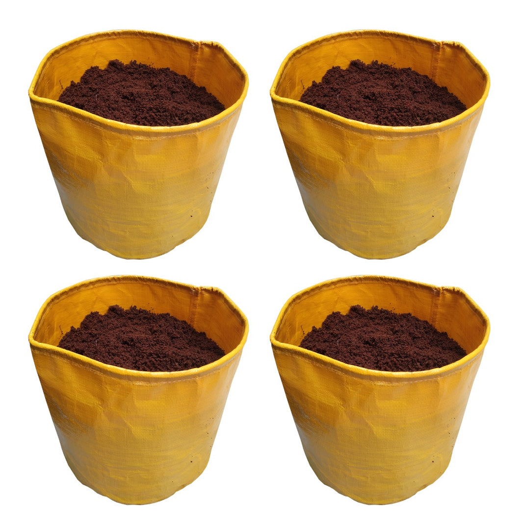 ROCHFERN Yellow HDPE Grow Bags 10x10 inches