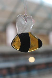 Fused Glass Bee Ornament