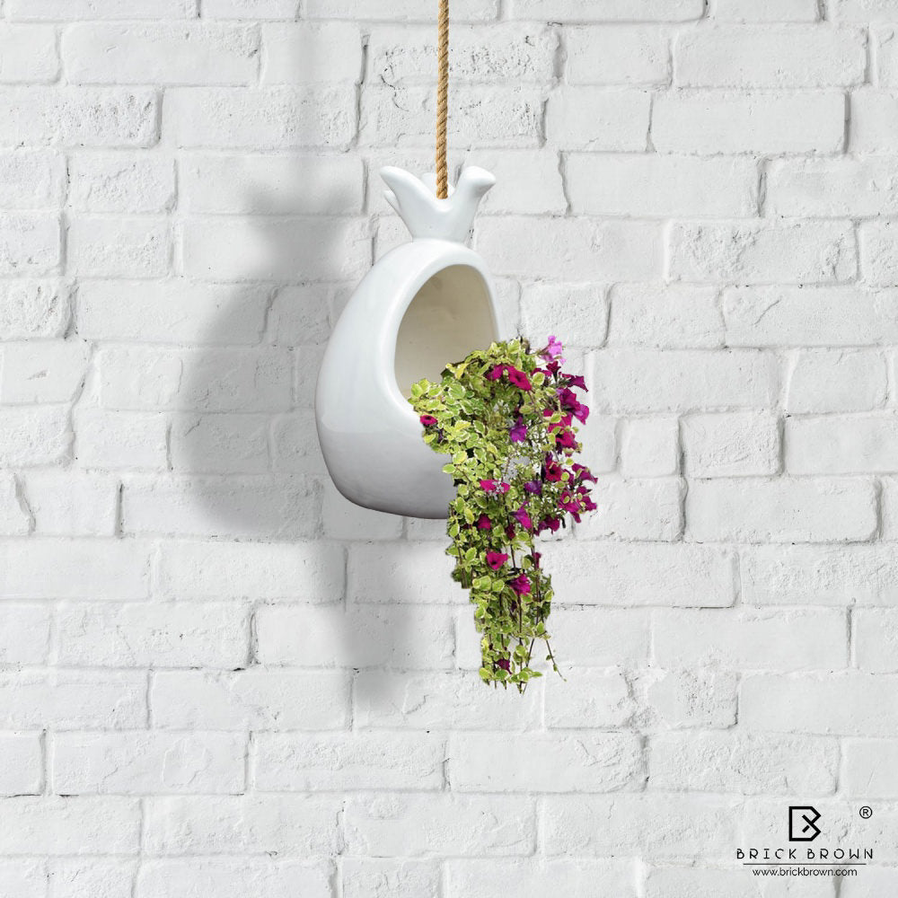 Bird and Nest Hanging Planter with Jute Rope