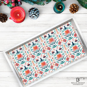 Red Lotus Serving Tray in White