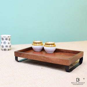Serving Tray with Metal Stand from Mahogany Collection (Large)