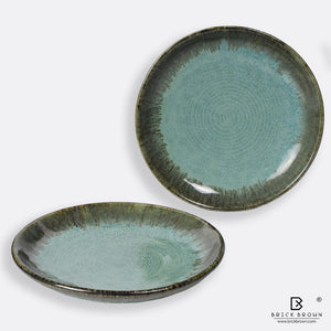Green Coral Serving Platters (Set of 2)