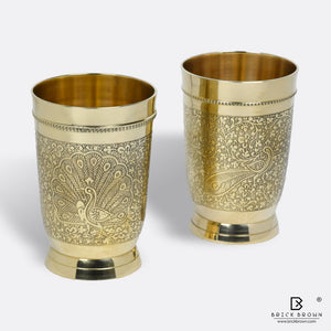 Peacock Tumblers in Brass (Set of 2)
