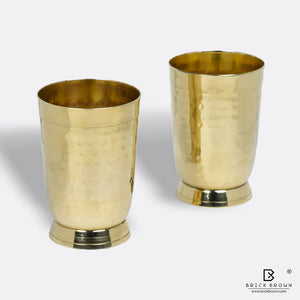 Hammered Tumblers in Brass (Set of 2)