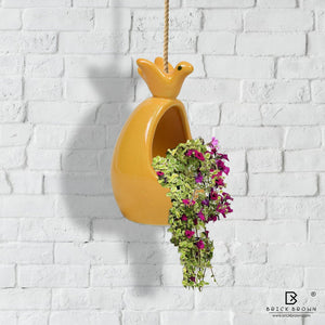 Bird and Nest Hanging Planter with Jute Rope in Yellow