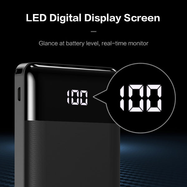 LED Display Dual USB Ports External Battery Power Bank - TurboRobot