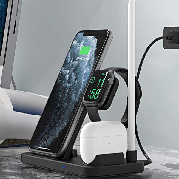 4 in 1 Wireless Qi 10W Fast Charging Stand - TurboRobot
