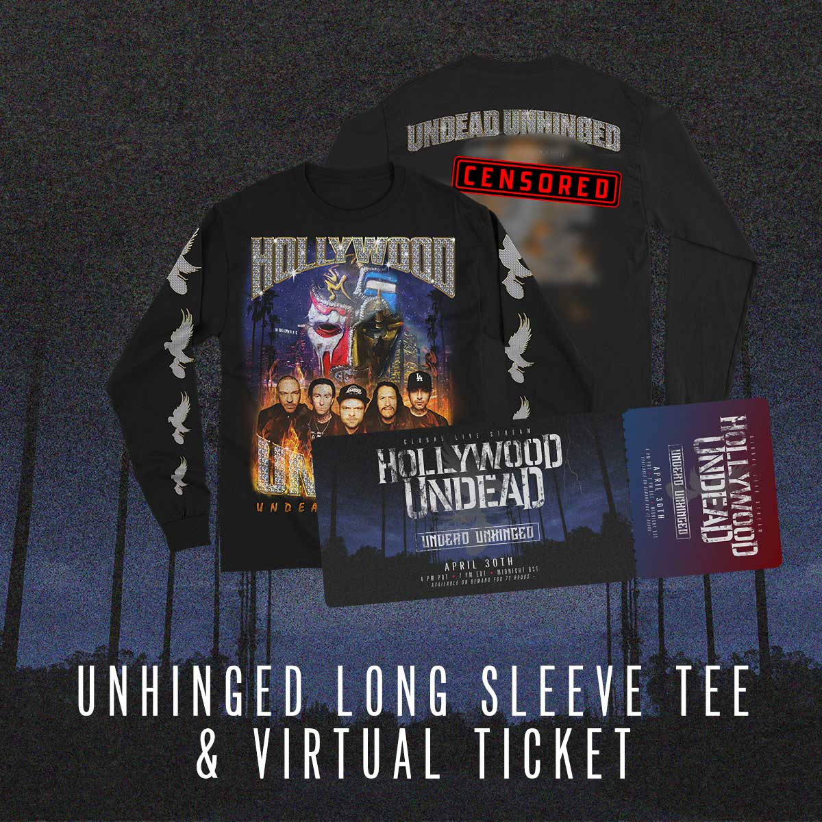 Image of Undead Unhinged Ticket + Bling Long Sleeve Tee