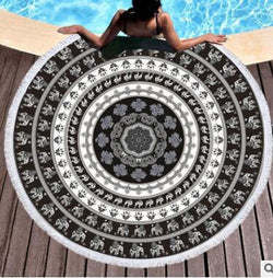 Round Beach Towel Bohemian Tassel Mandala Tapestry Yoga Mat Black and White Toalla Sunblock Boho Blanket - The Fiterati