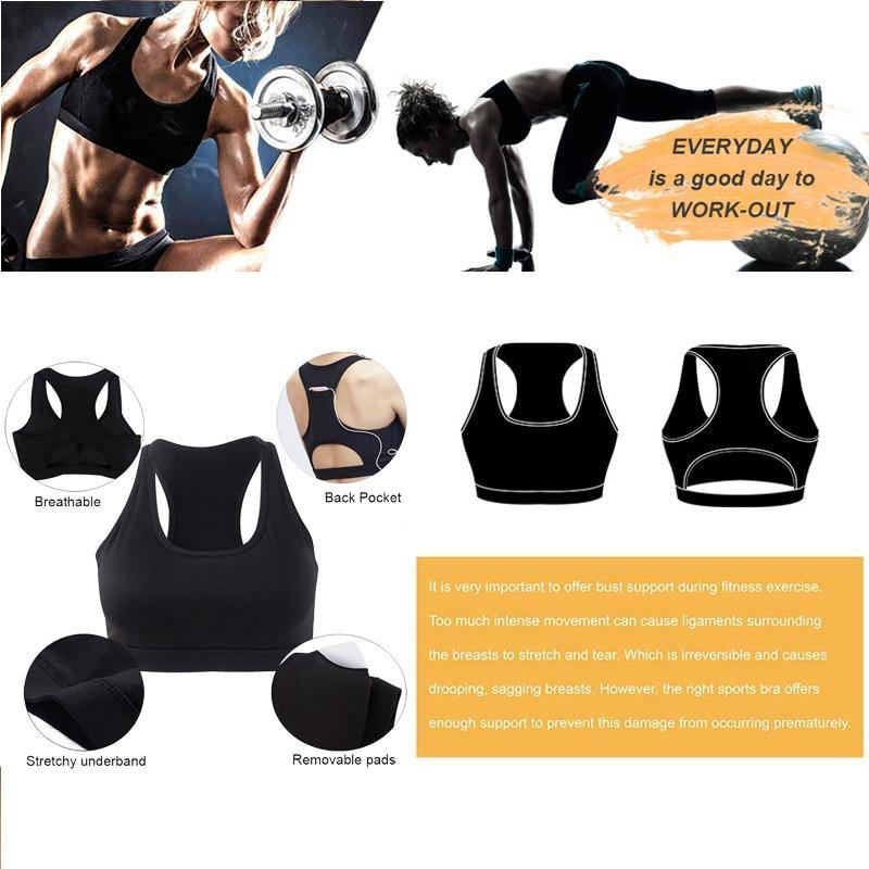 Top Women Sports Bra with Phone Pocket Compression Push Up Underwear Top Female Gym Fitness Running Yoga Bh Sport Bra XL - The Fiterati