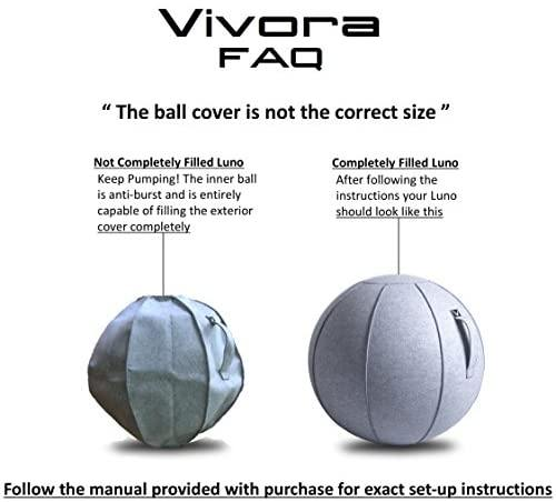 Vivora Luno - Sitting Ball Chair for Office, Dorm, and Home, Lightweight Self-Standing Ergonomic Posture Activating Exercise Ball Solution with Handle & Cover, Classroom & Yoga: Home & Kitchen - The Fiterati