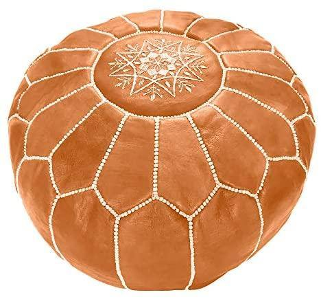 Marrakesh Pouf - Genuine Goatskin Leather - The Fiterati