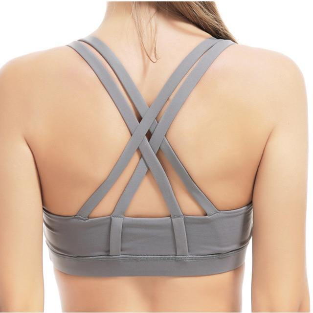 Professional Sport Bra Top Fitness Gym Women Strappy Vest Seamless Padded Yoga Bras Training Tank Top Push up Running Underwear - The Fiterati