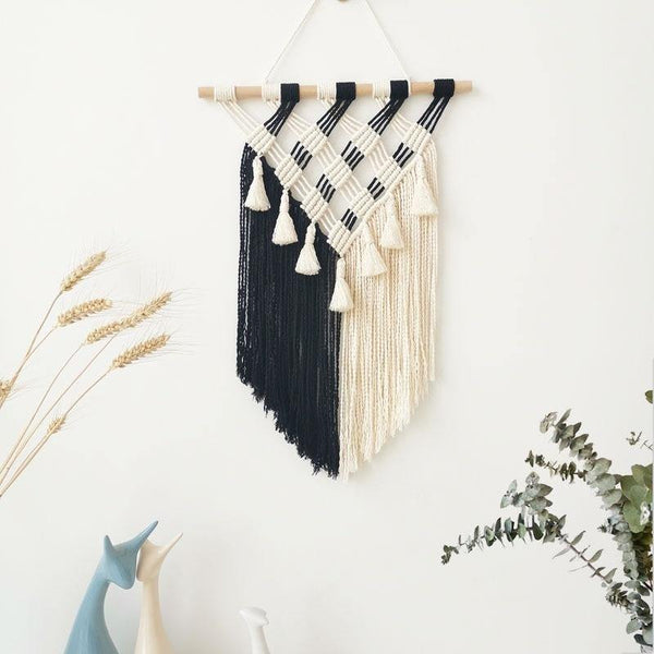 Hand-woven Black and White Boho Macramé Tapestry Wall Hanging - The Fiterati