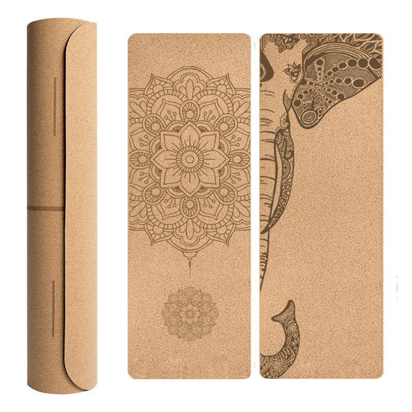 Shea Natural Cork Yoga Mat with Carrying Case and Strap - The Fiterati