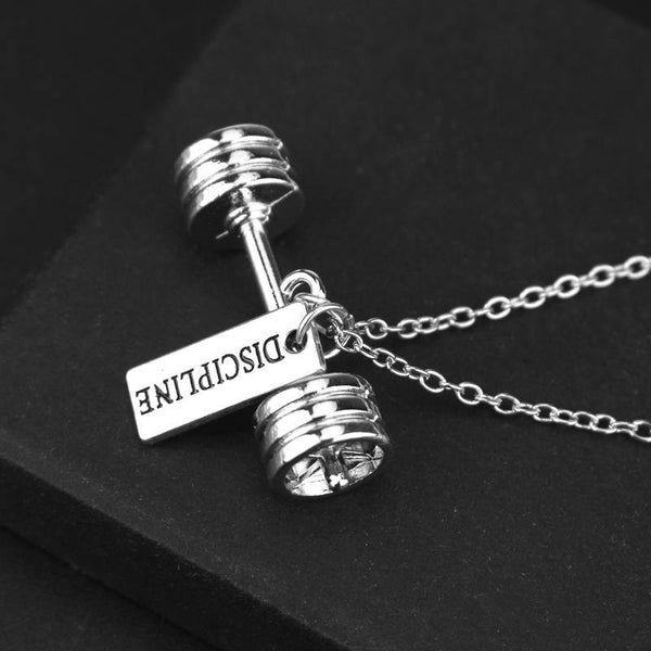 """Discipline"" Dumbbell Necklace - The Fiterati"
