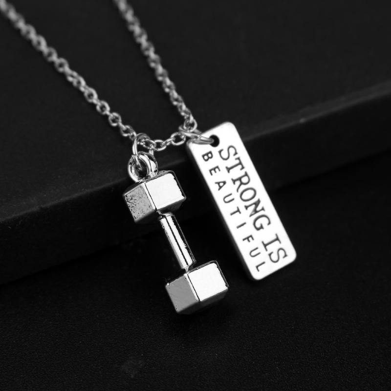 """Strong is Beautiful"" / ""Me vs. Me"" - Dumbbell Necklace - The Fiterati"