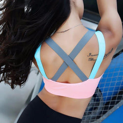Sports Bra Full Cup Breathable Top Shockproof Cross Back Push Up Workout Bra For women Gym Running Jogging Yoga Fitness Bra - The Fiterati