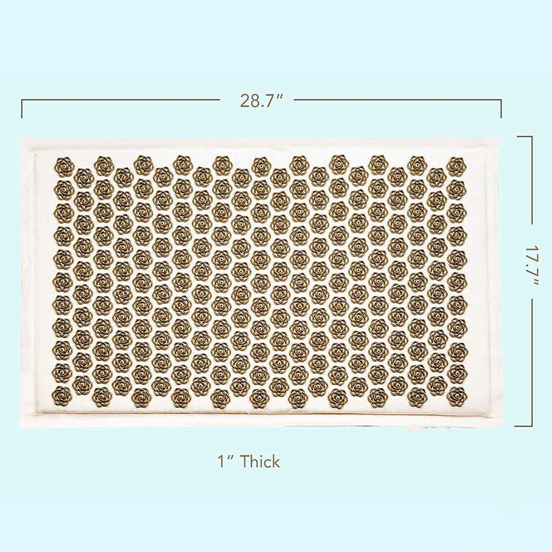 Lotus Acupressure Mat, Natural Organic Linen Massage Pad Cushion Yoga Mat Back/Neck/ Pain Relief Therapy - The Fiterati