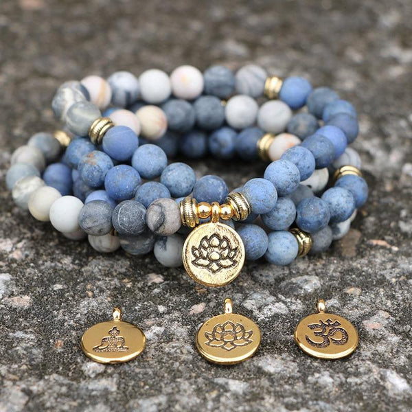 Optimism and Friendships - Blue Picasso Stone Mala Meditation Bracelet/Necklace - 108 Beads - The Fiterati