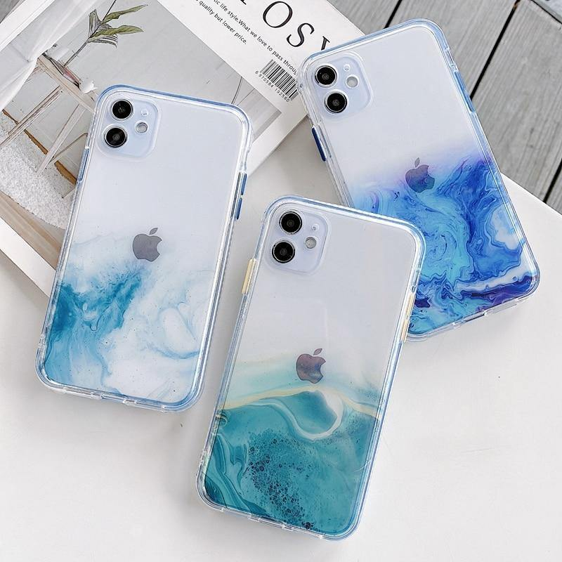 Geode Watercolor iPhone Version 11x, SE 2020, 12x Case, Transparent, Silicone, Shockproof - The Fiterati