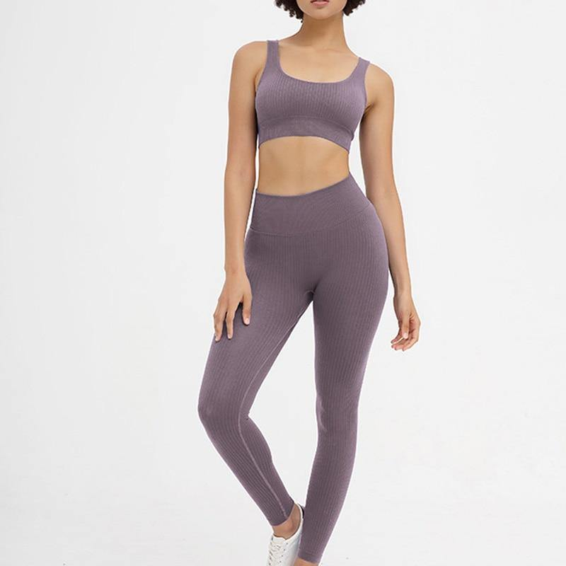 The Madison | Ribbed Seamless 2-Piece Bra and Leggings Set - The Fiterati