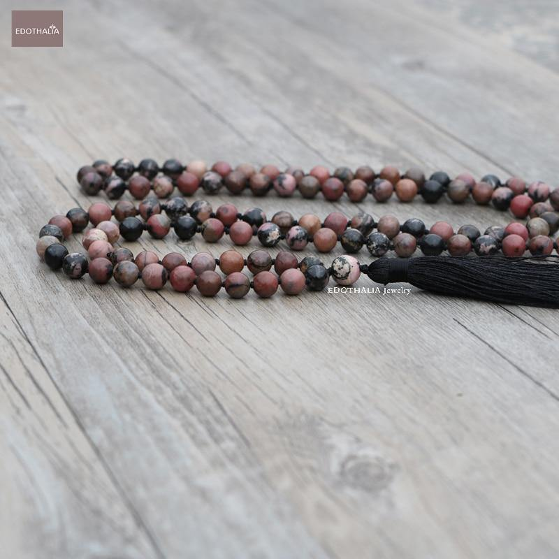 Unconditional Love - Handmade Black Line Rhodochrosite Mala Bead Necklaces With Tassels- 108 Beads - The Fiterati