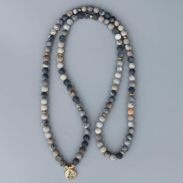 Inner Clarity + Friendships - Picasso Jasper Stone Mala Bracelet/Necklace - 108 Beads - The Fiterati