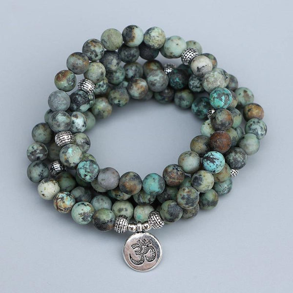 EDOTHALIA 108 Beads Mala Bracelet For Women Men 8MM Matte African Turquois Stone Silver Color Charm Yoga Bracelet - The Fiterati