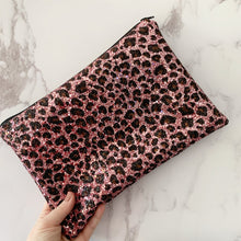 Load image into Gallery viewer, Pink Leopard Glitter Clutch