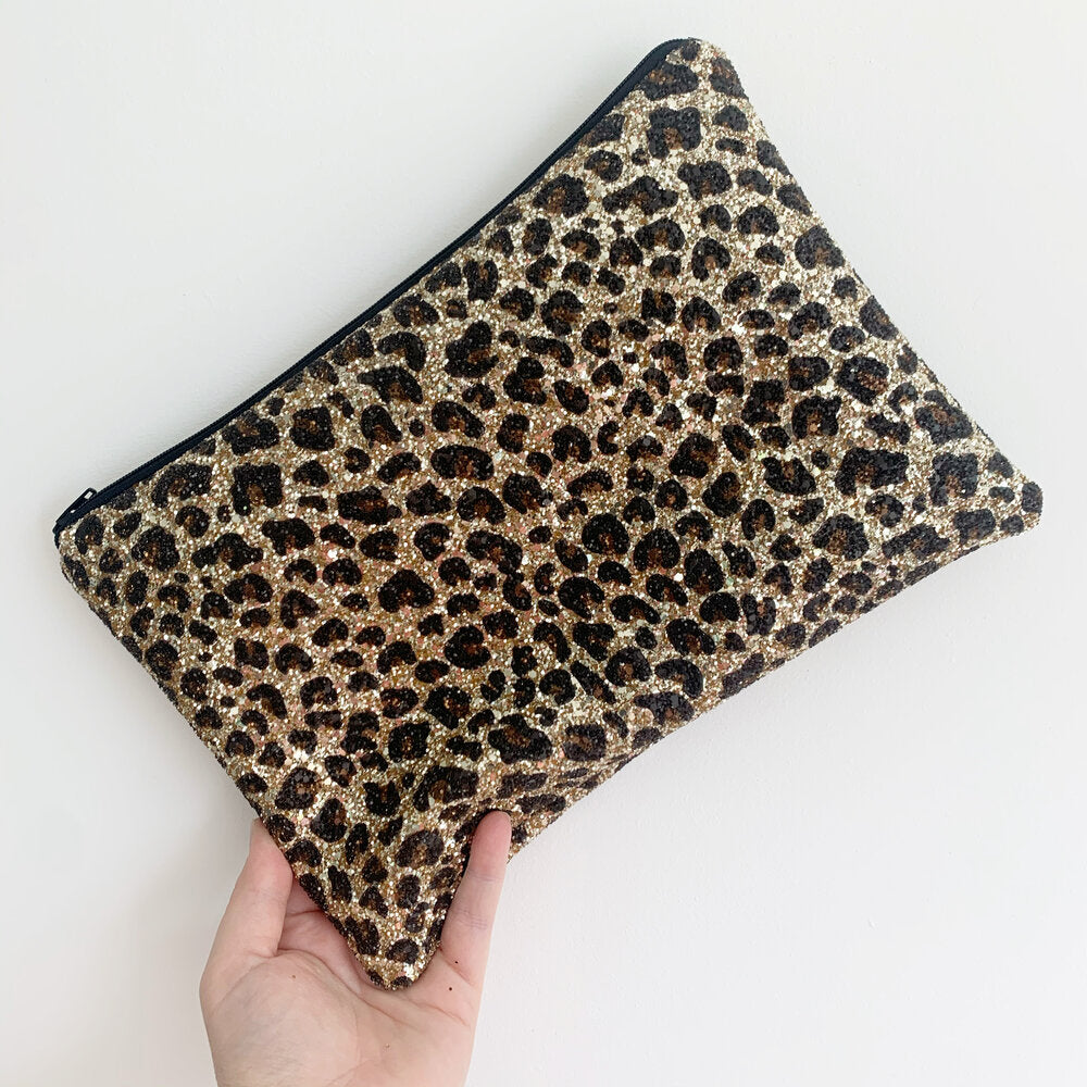 Leopard Gold Clutch